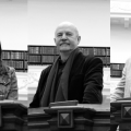 The authors shortlisted for the 2017 Miles Franklin Literary Award. R to L: Ryan O'Neill, Emily Maguire, Philip Salom, Mark O'Flynn, Josephine Wilson.
