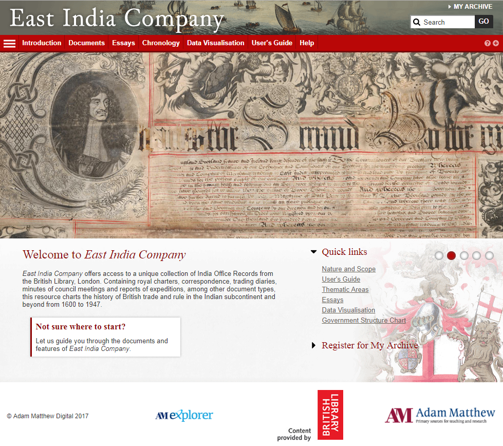 The homepage of the East India Company database