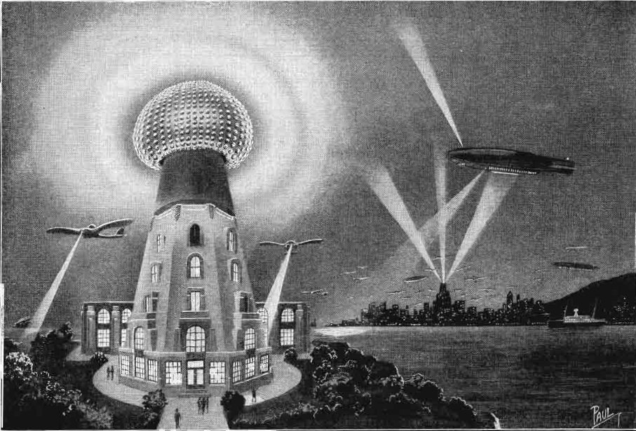 An artist's conception of what wireless power could look like, including a tall tower topped with a ball of lights.