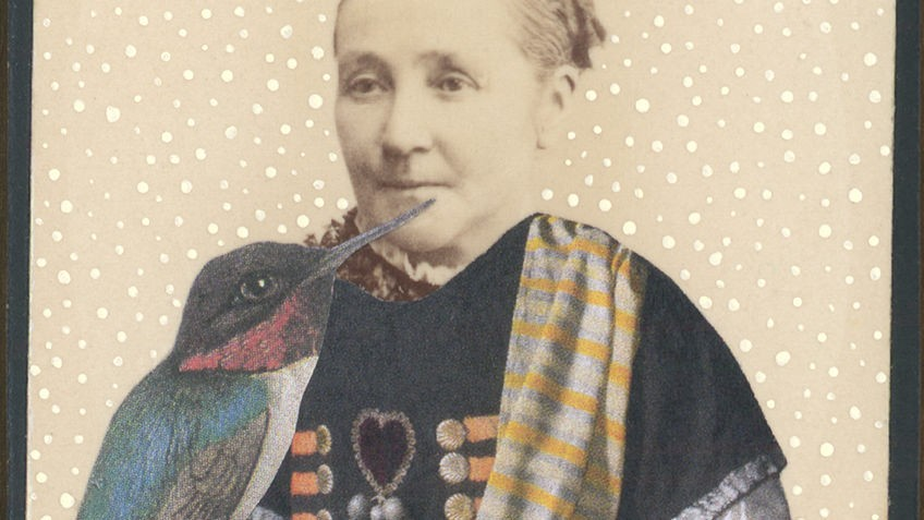 A collage featuring a woman and a bird