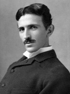 A portrait of Nikola Tesla.