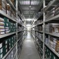 Rows of items in State Library Victoria's current storage facility.