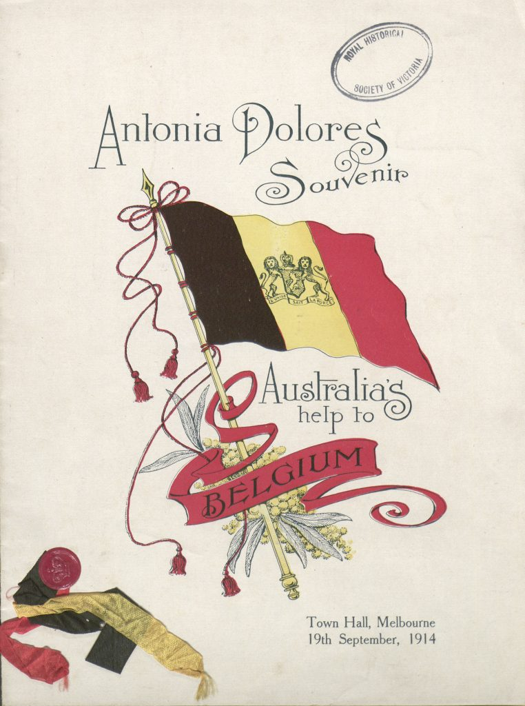 Antonia Dolores souvenir, Australia's help to Belgium.