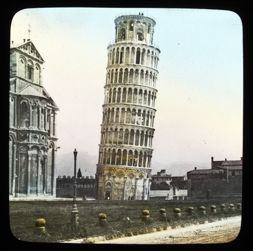 A lantern slide of the Leaning tower of Pisa.