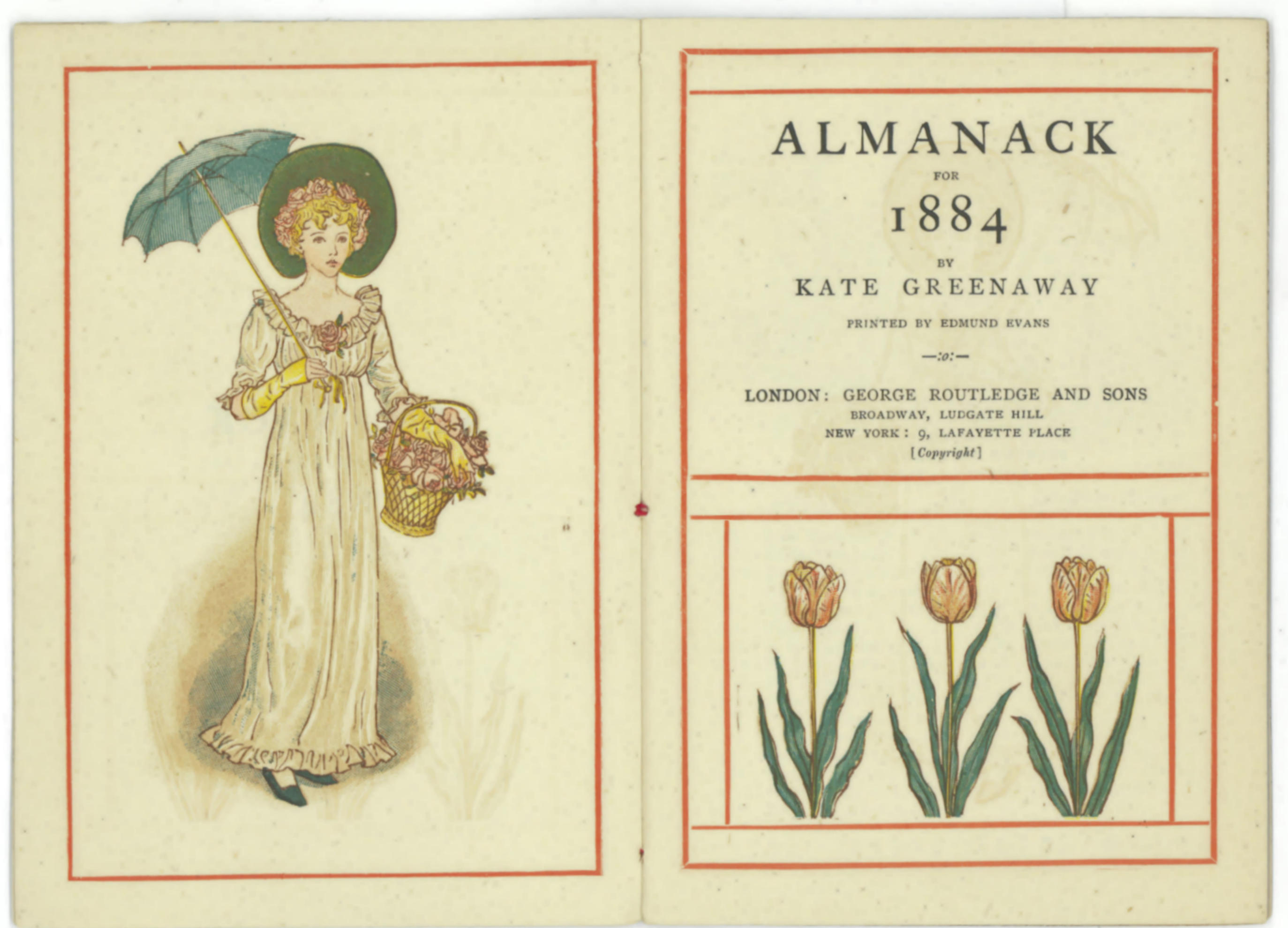 Title page for Almanack 1884 by Kate Greenaway