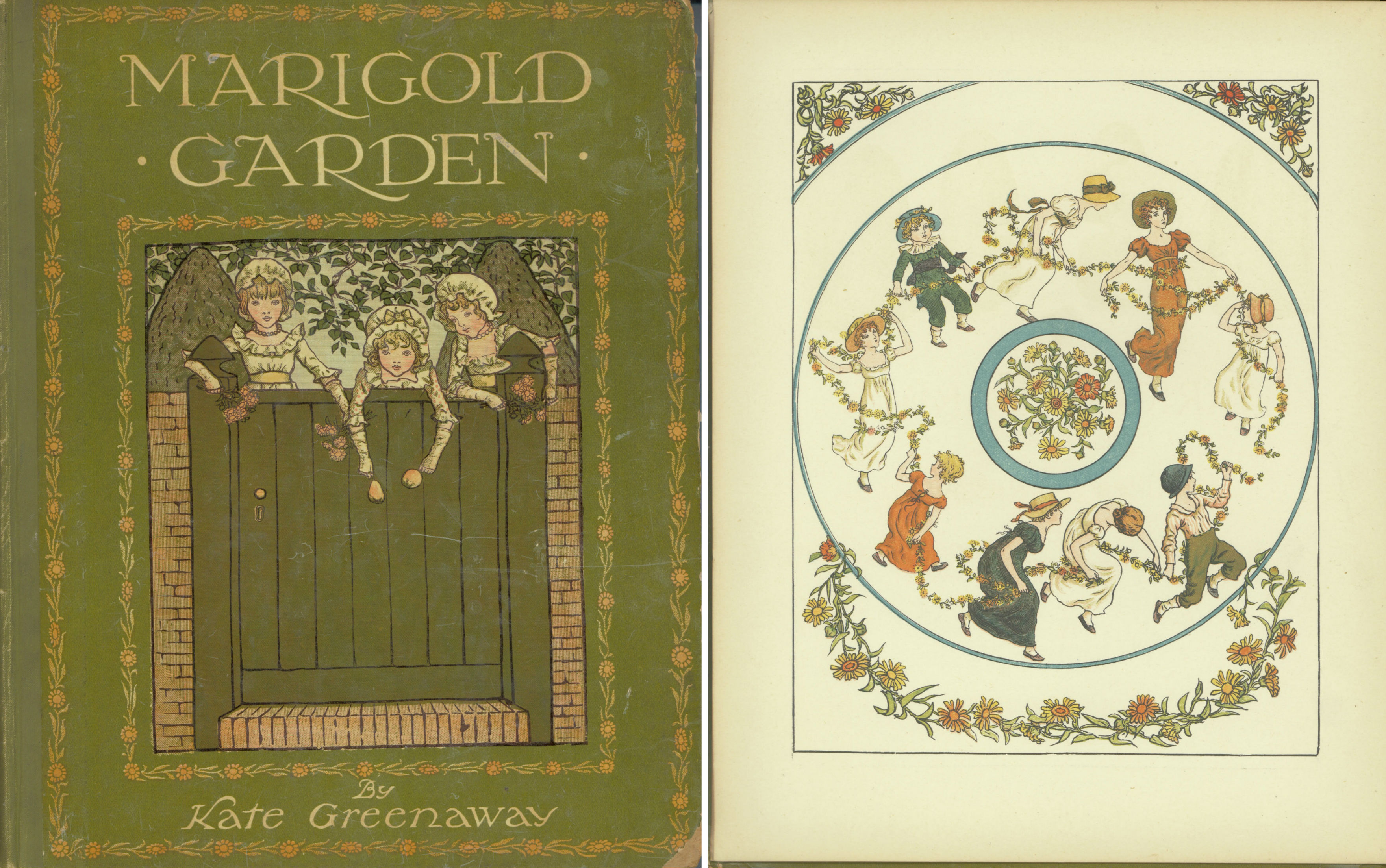 Cover and frontpiece of Marigold Garden by Kate Greenaway