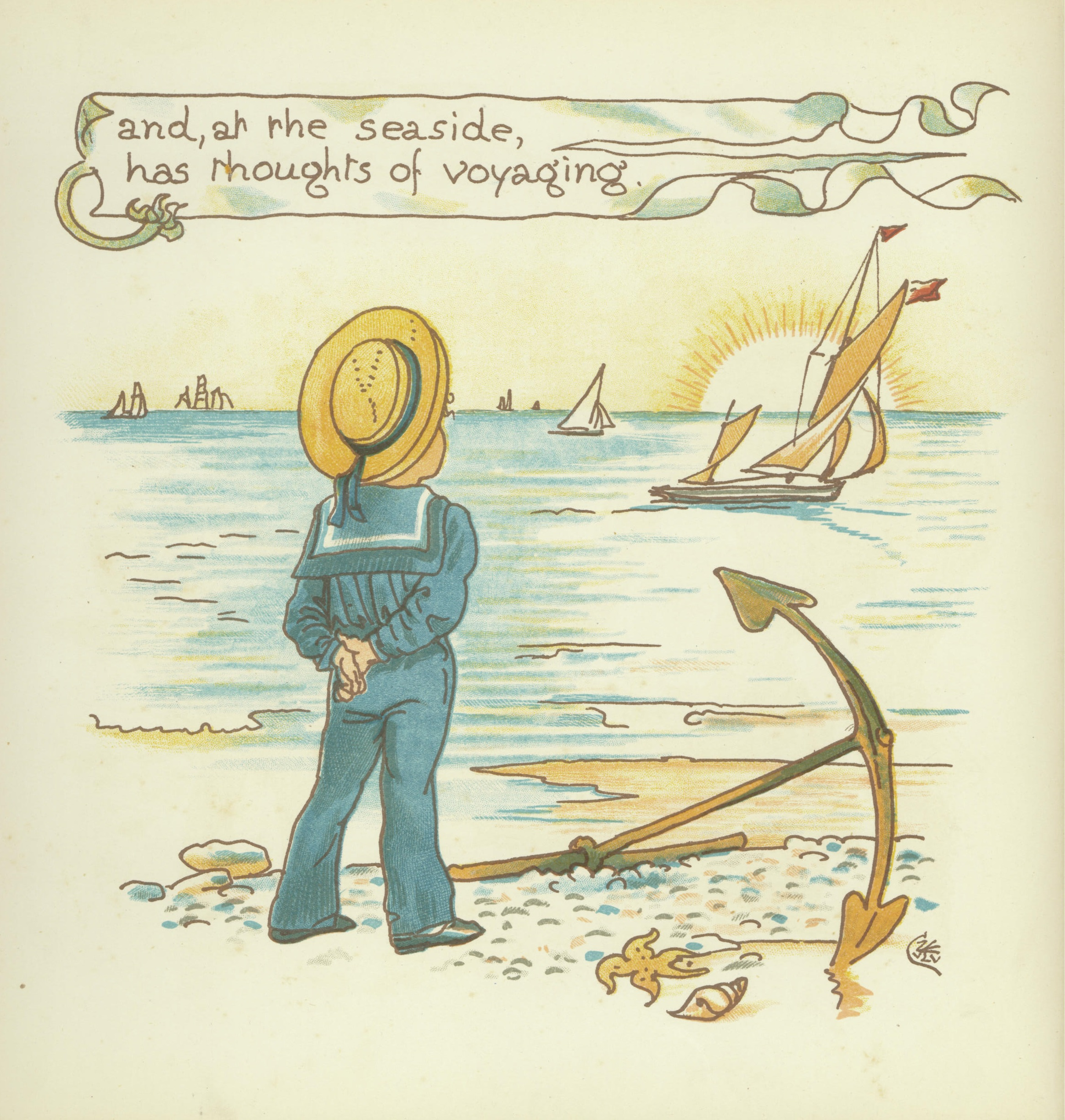 An illustration of a small boy looking out to sea