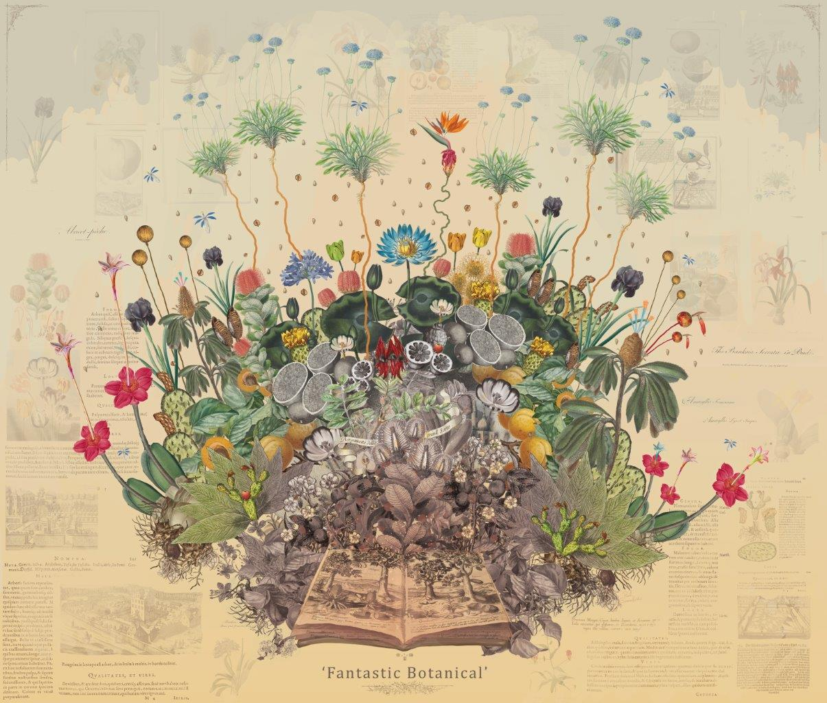 A collage of flowers emerging from a book