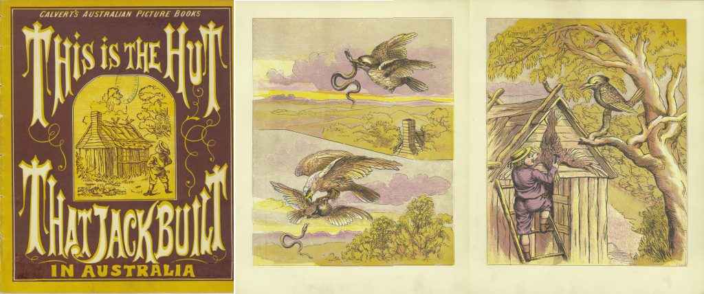 A three-page spread of The Hut That Jack Built, showing an illustration of an eagle attacking another bird for a snake.