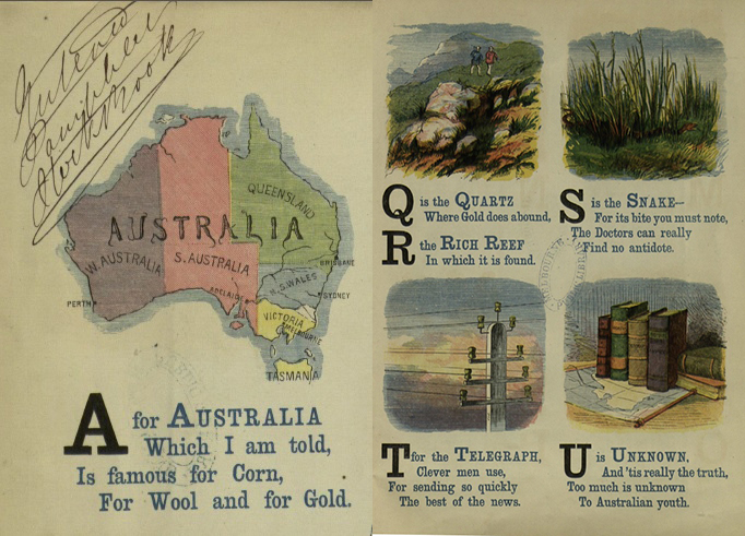 "An illustration of Australia, reading ""A is for Australia"""