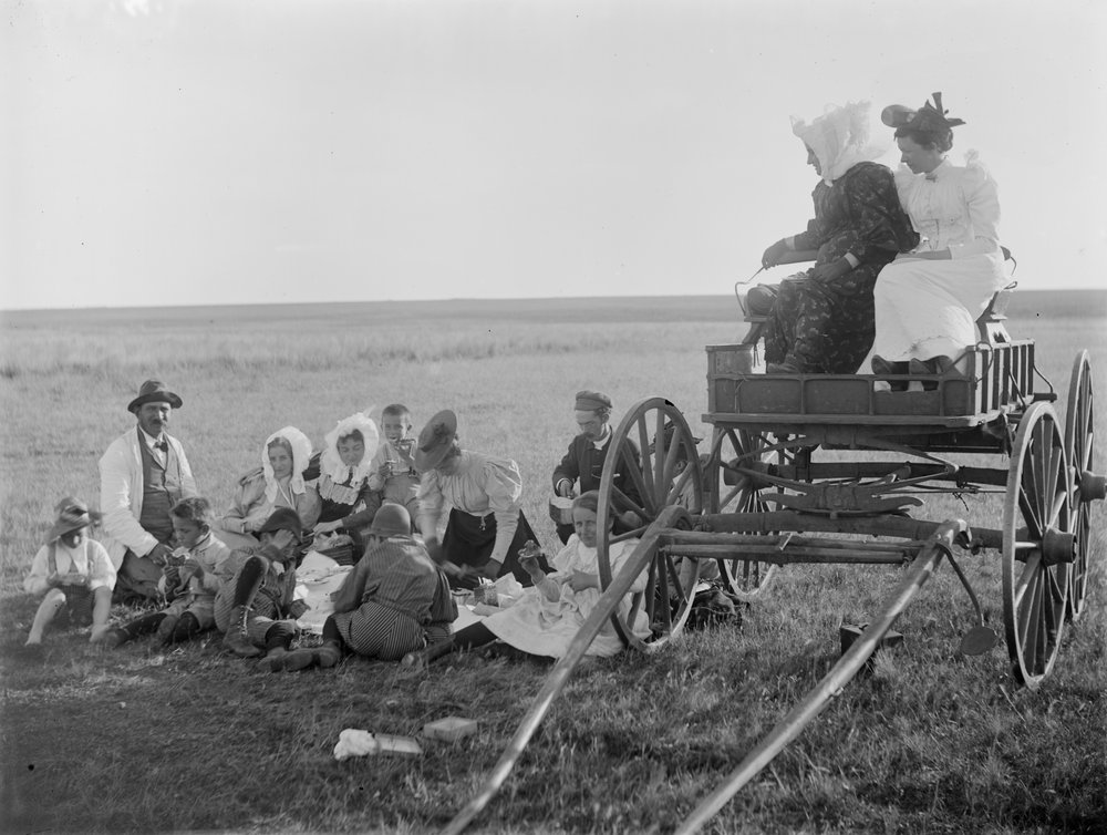 Hoddinott family country picnic, group of men, women and children sitting on rug beside wagon, 2 women sitting on the wagon which is unharnessed