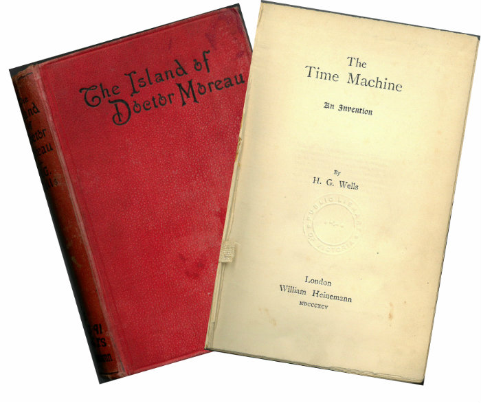 Early editions of two of H G Wells most famous novels. The Time Machine (1895) and The Island of Doctor Moreau (1896)