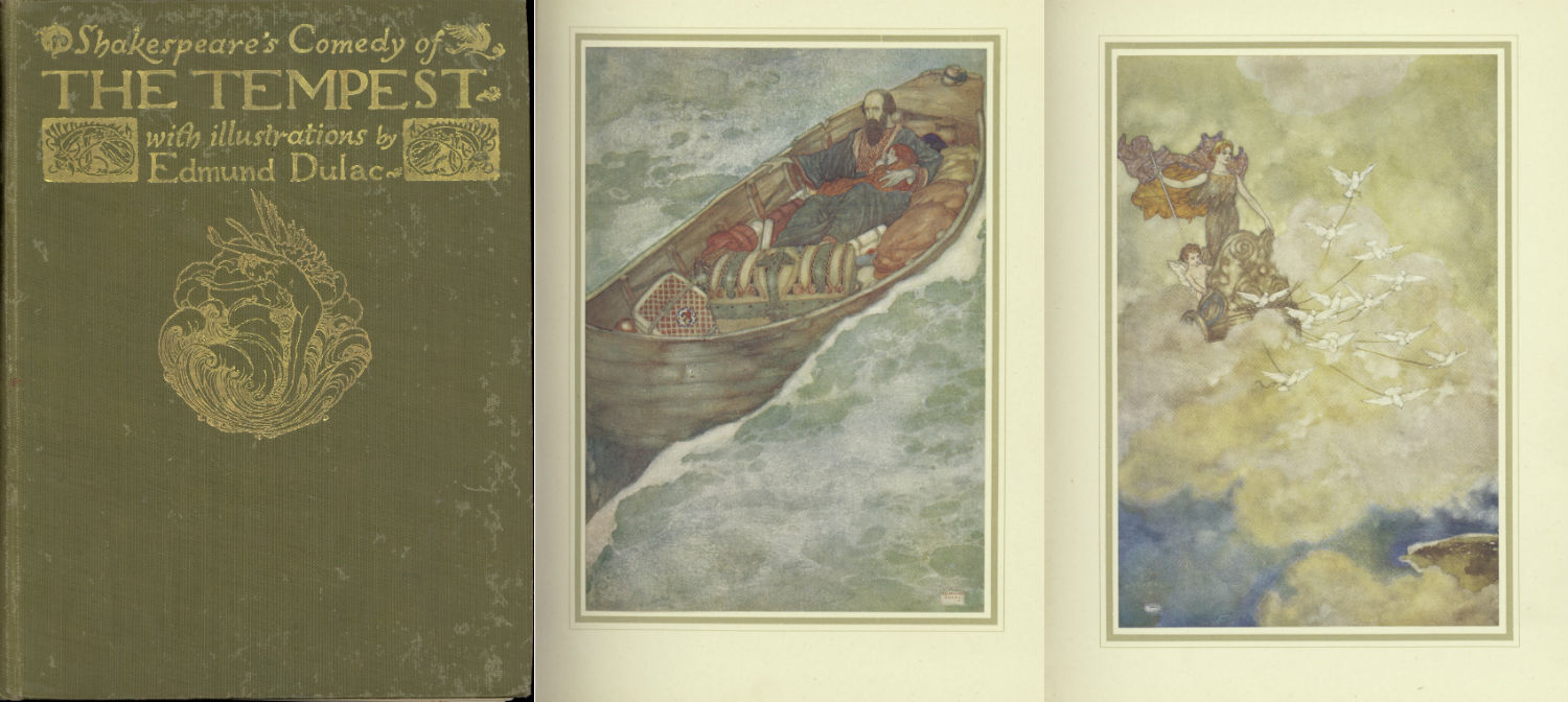 A cover and two pages from The Tempest