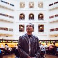 Haruki Murakami viewing the iconic the Latrobe Reading Room.