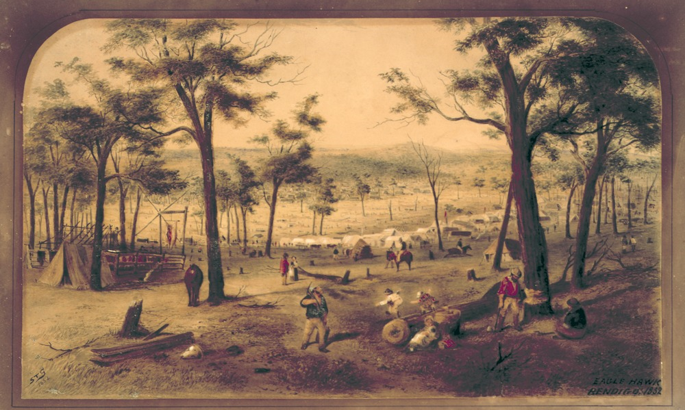watercolour painting shows miners camp in Bendigo