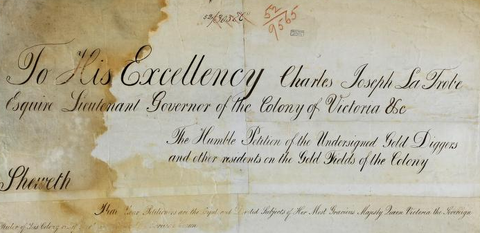 Close up of cursive script on the Bendigo goldfields petition