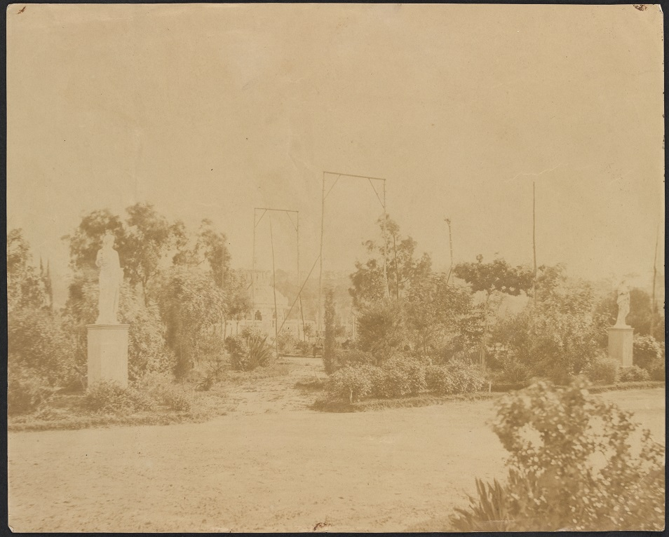 View of Cremorne Gardens showing statues, rotunda and wooden frames