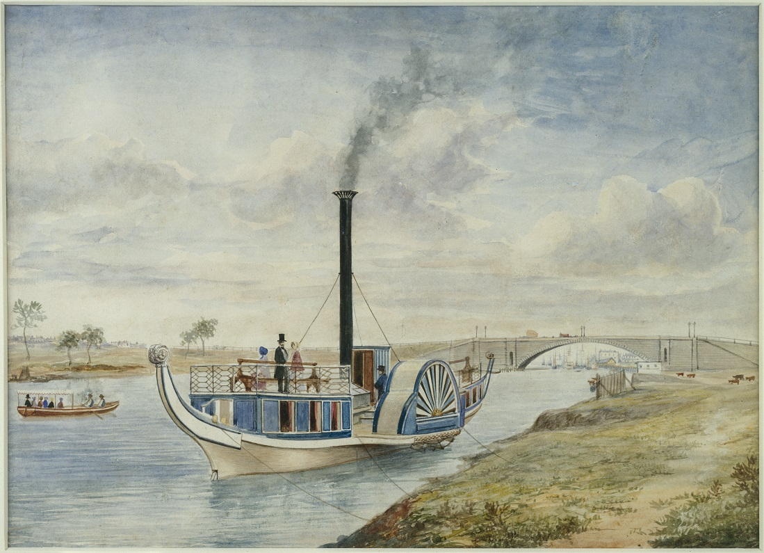 Shows paddle steamer Gondola which carried pleasure seekers on the Yarra River
