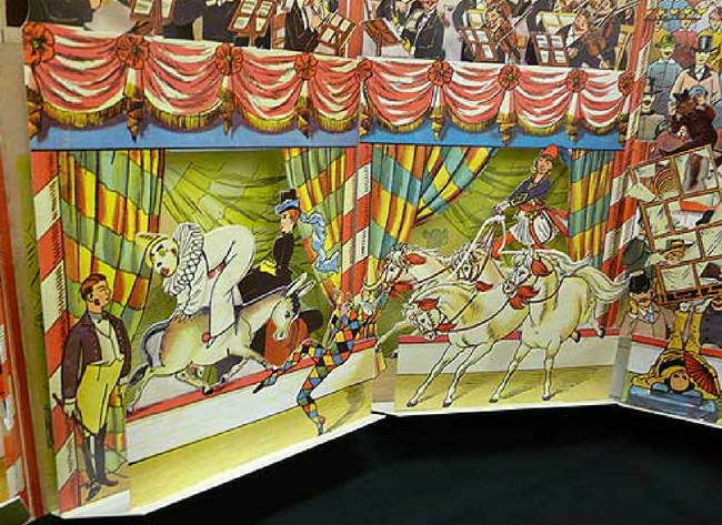 vpup ip book page showing circus scene