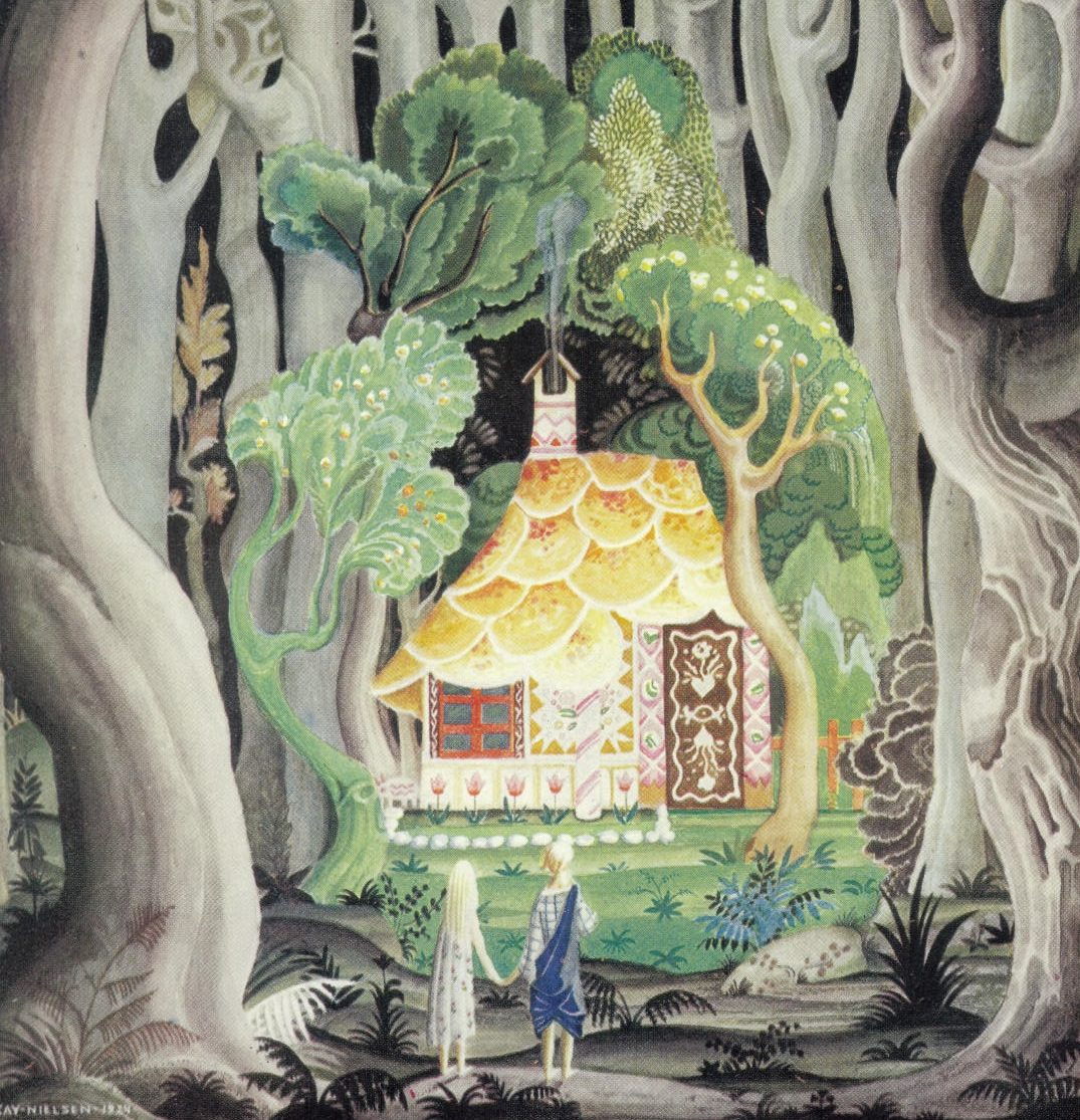boy and girl in front of cottage in dark forest