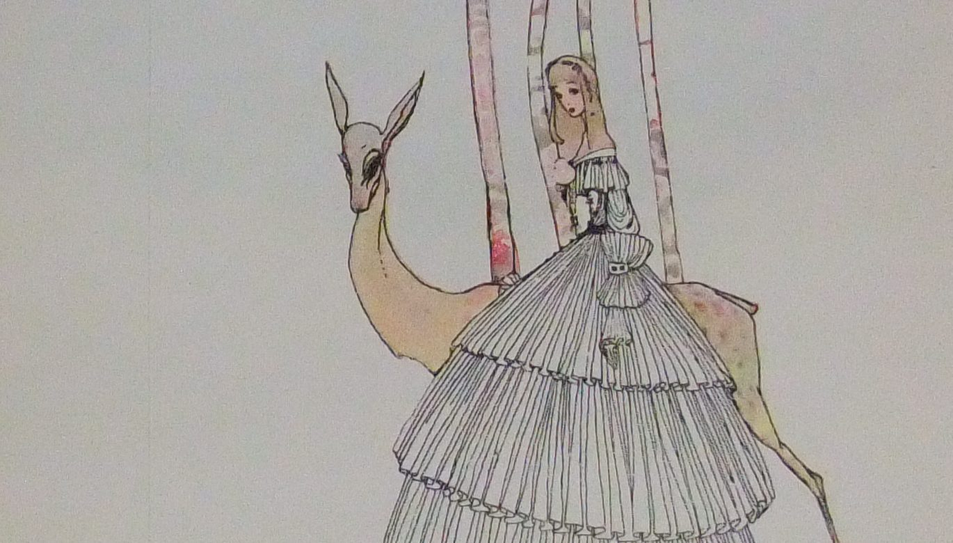 princess with large full skirt walking with deer