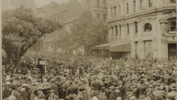crowd of people filling the streets