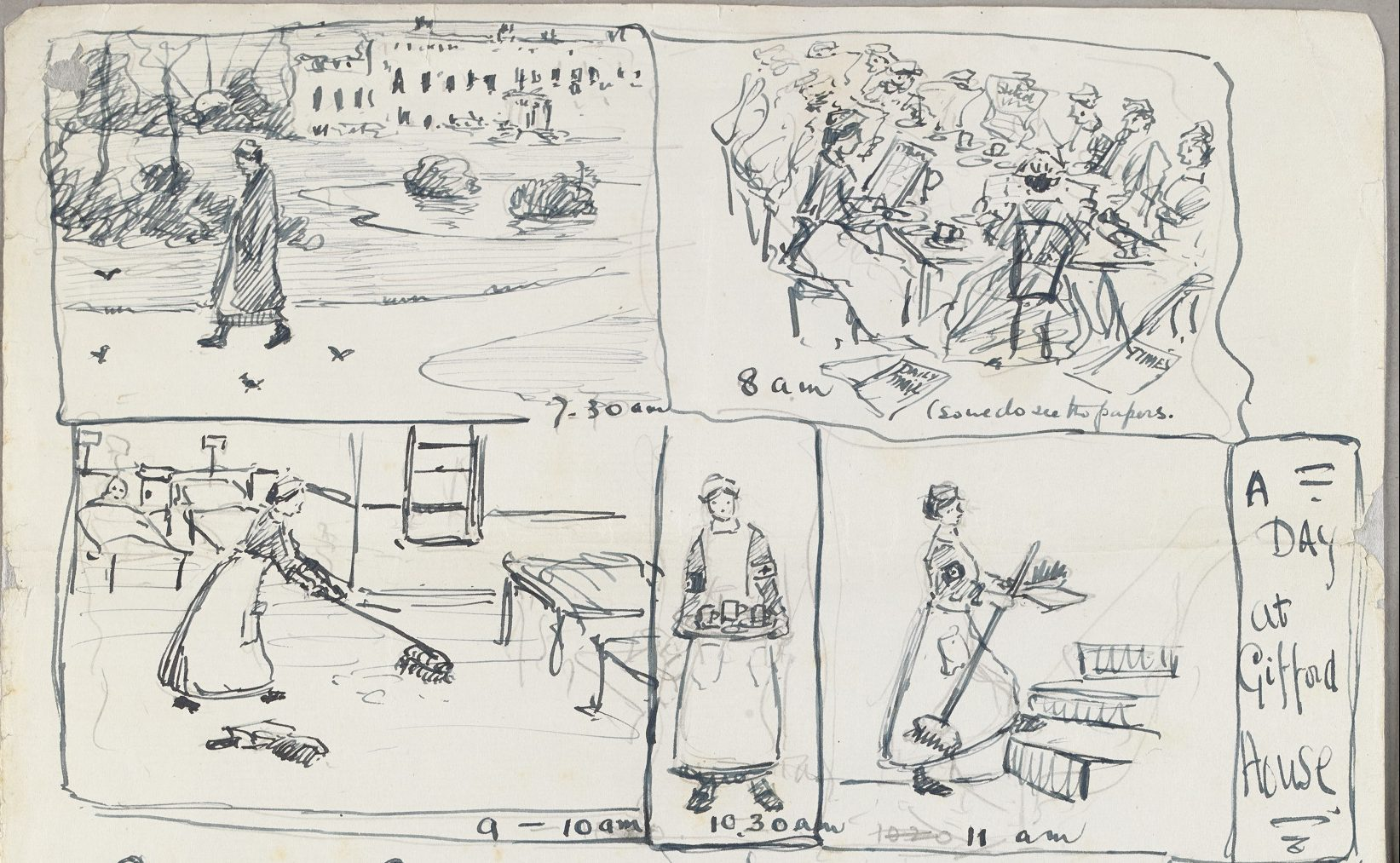 sketch of people doing chores
