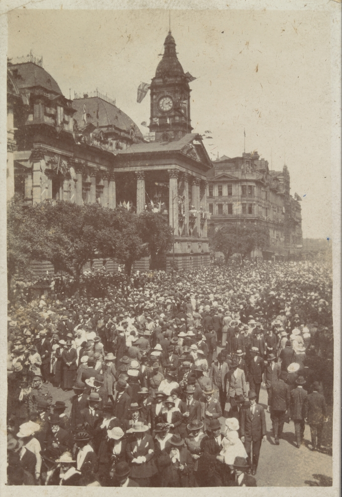 crowd of people outside town hall