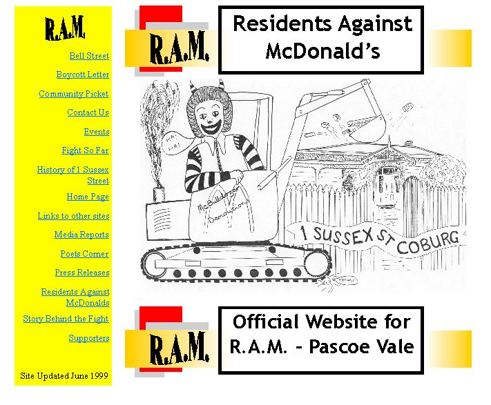 Residents Against McDonalds website screenshot