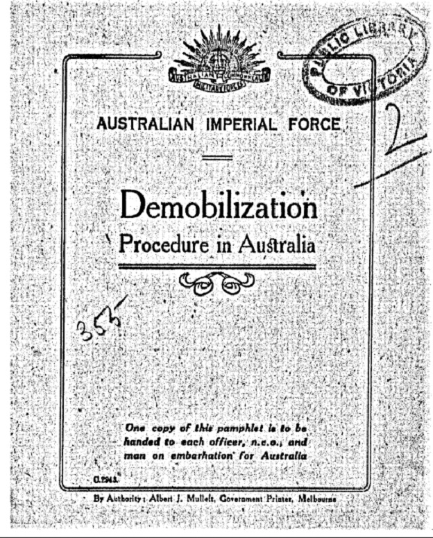 brochure cover from Australian Imperial Force