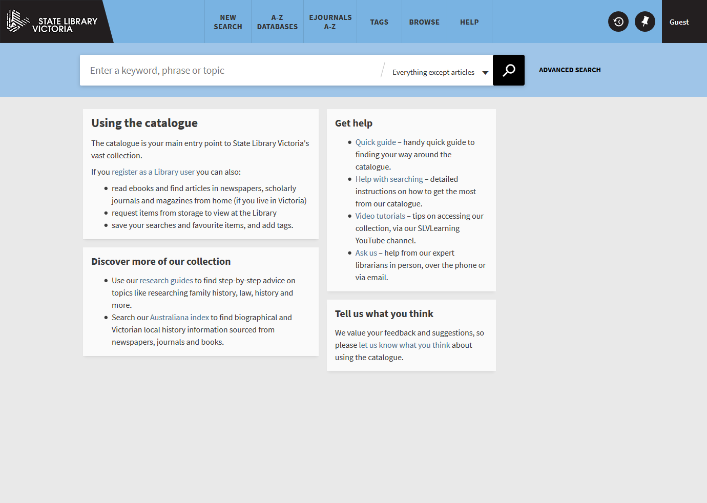 State Library Victoria catalogue landing page