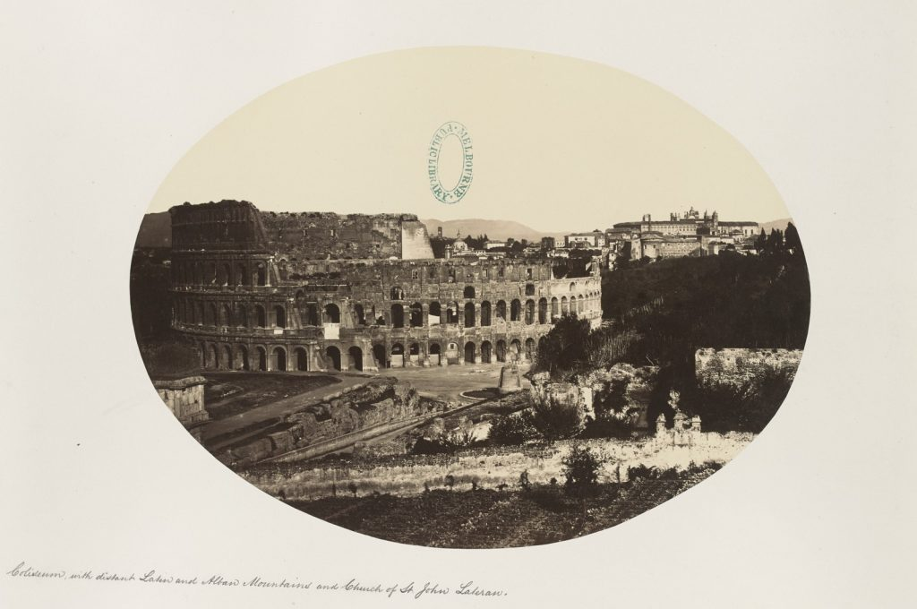 The Coliseum with distant Latin and Alban Mountains, and Church of St. John Lateran