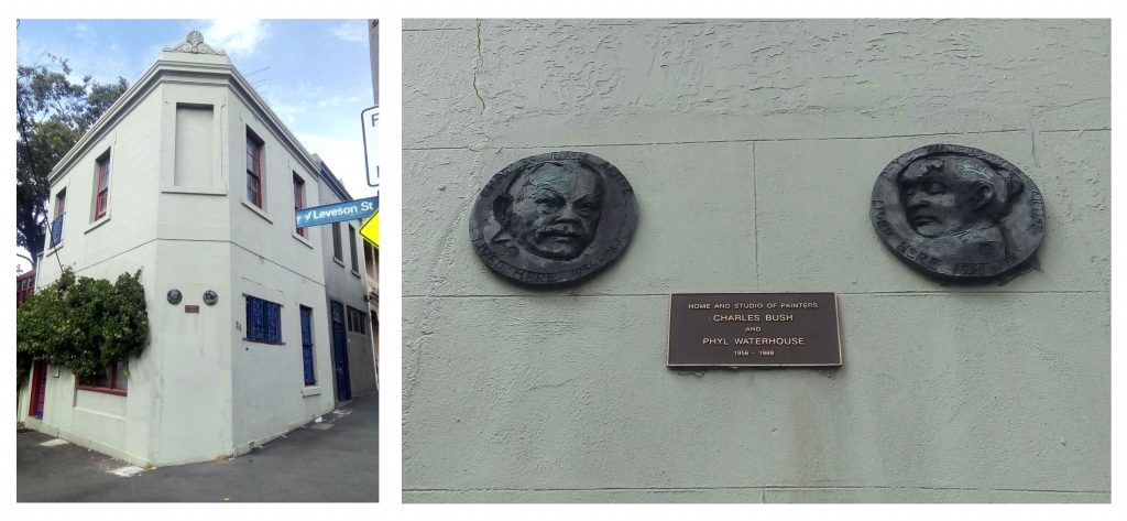 Two photographs side by side of a white corner building, and a close up of the wall of the same building featuring three metal plaques