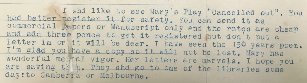 Detail of a letter written using a typewriter, with blue ink.