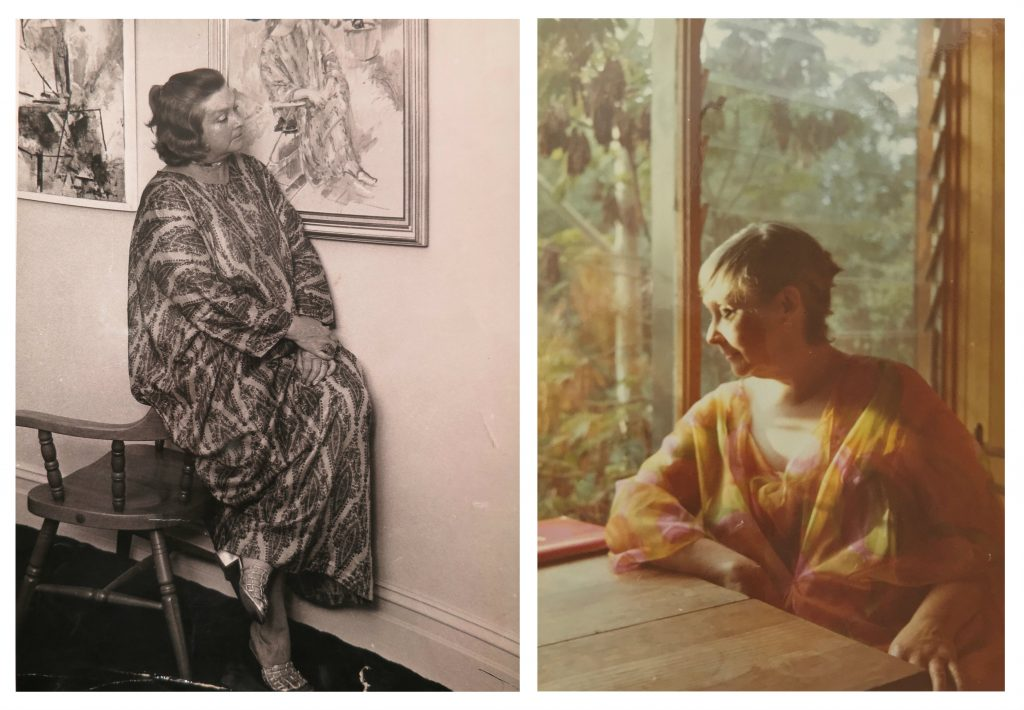 Two portraits side by side of the same woman, one perched on a chair, the other seated at a table