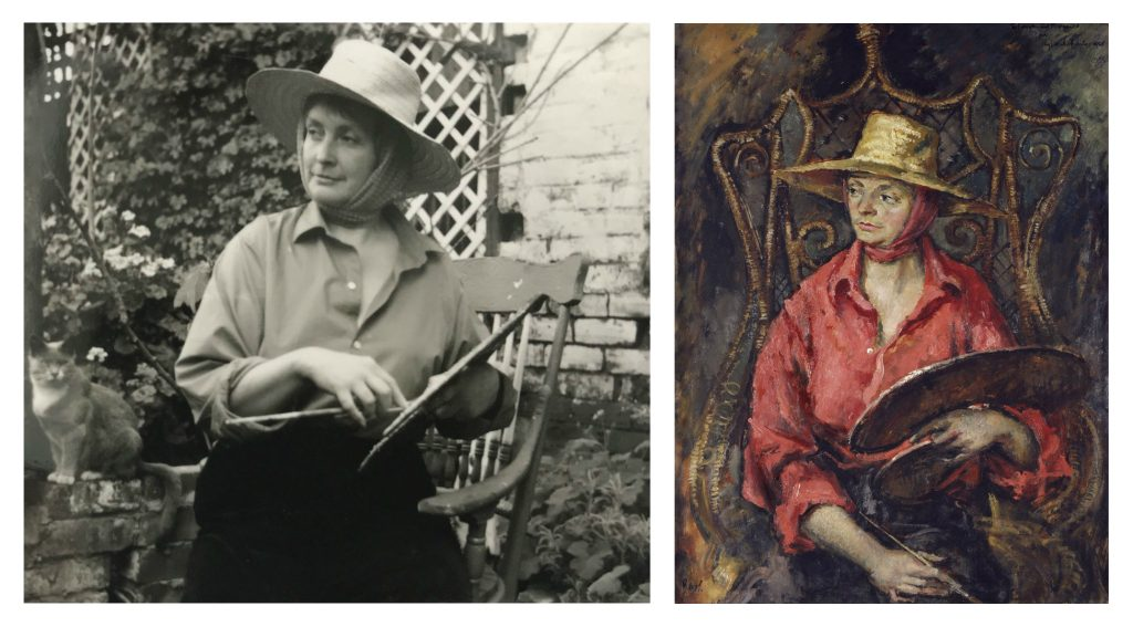 Photographic portrait of a woman wearing a hat with a palette in the garden, and an painted portrait of the same woman and scene.