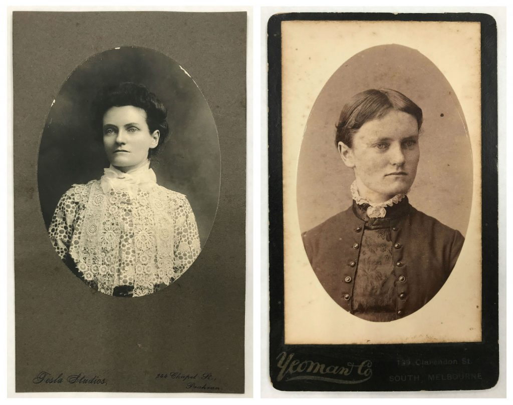 Two black and white photographic portraits of the same woman side by side