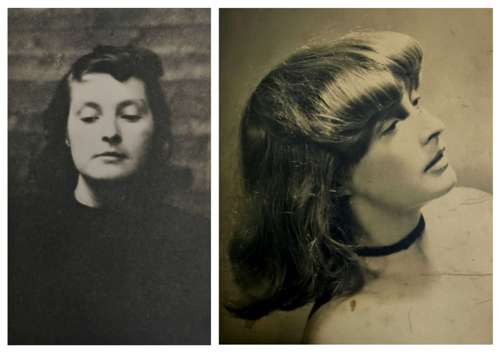 Two side by side portraits of a lady