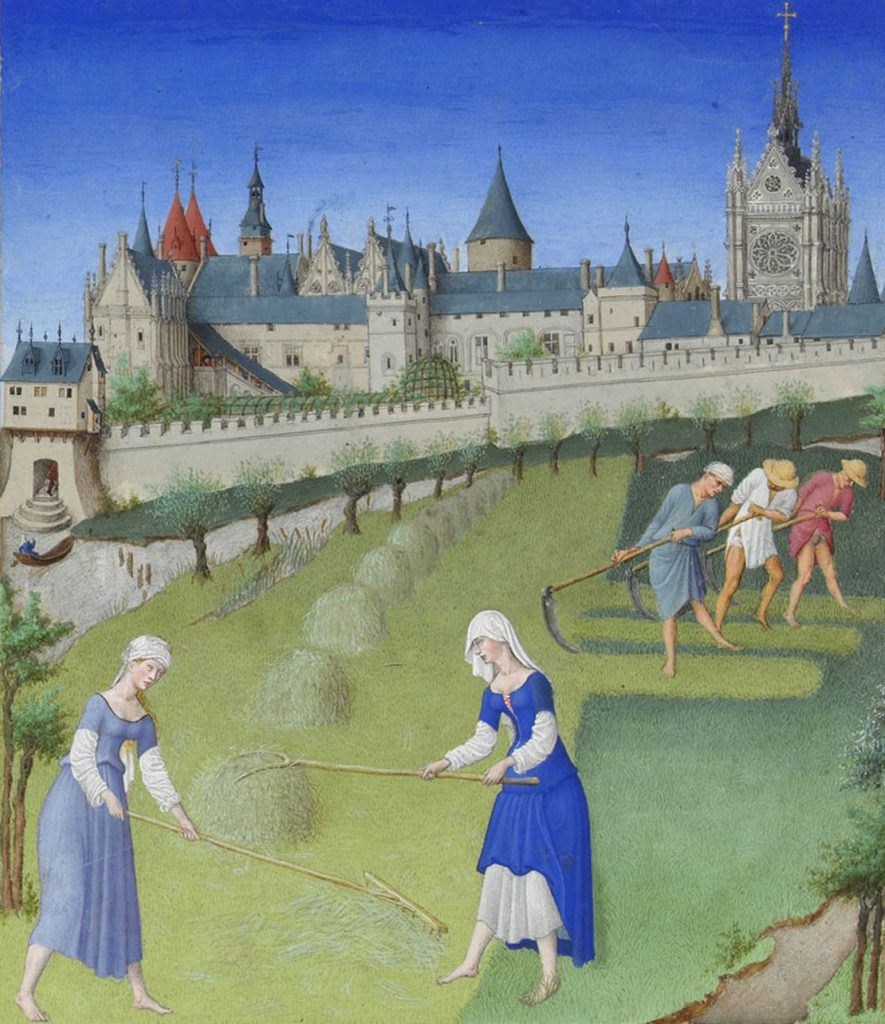 medieval women performing farmwork outside a castle