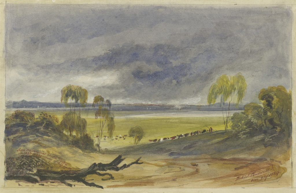 Watercolour painting of a gentle slope with cattle and the You Yangs in the far distance