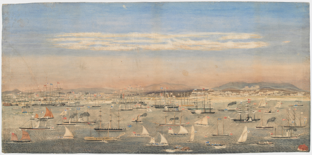 full view of watercolour depicting regatta