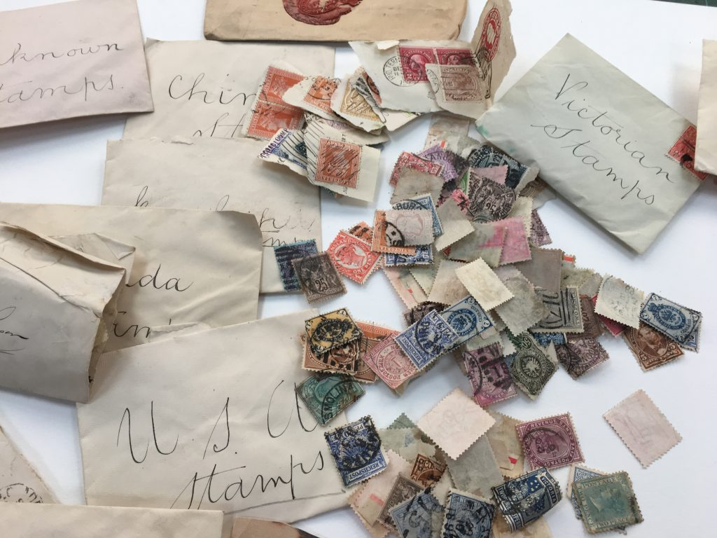 Assorted loose stamps and envelopes