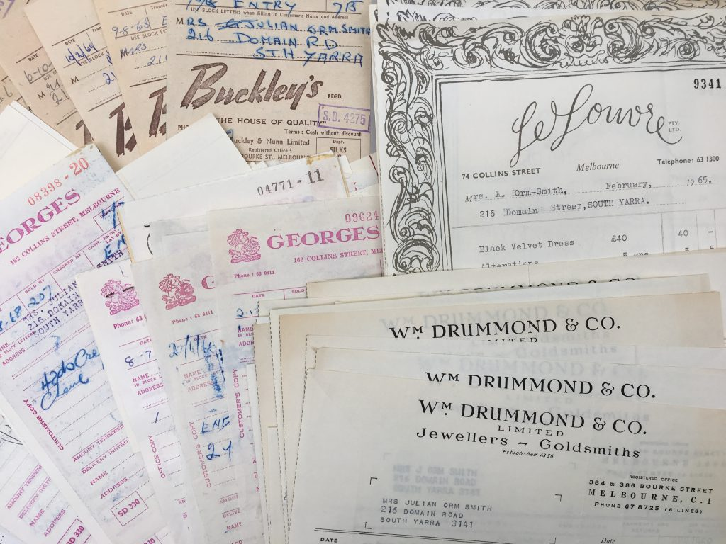 Receipts for various clothing stores and jewellers
