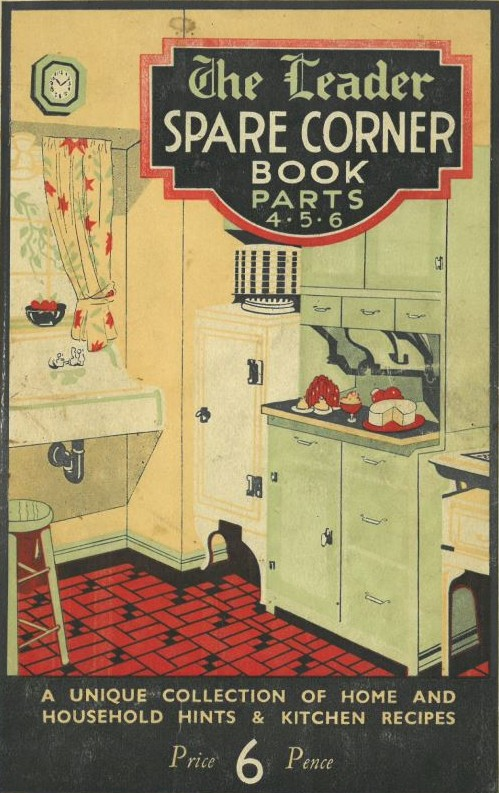 Cover page of the Leader spare corner book parts 4, 5 and 6. Features picture of kitchen from the 1930s in retro colours