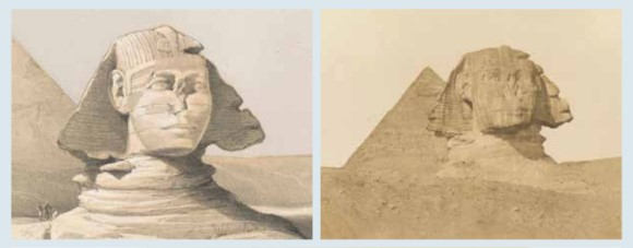 Roberts' artistic influence on Frith can be seen by comparing Frith's photograph of the sphinx (on the right) with Roberts' painting of the same subject (on the left).