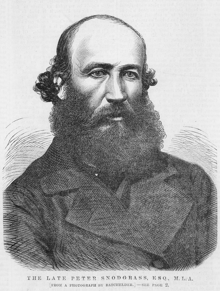 Black and white newspaper illustration of Peter Snodgrass. He is wearing a coat and has a long beard