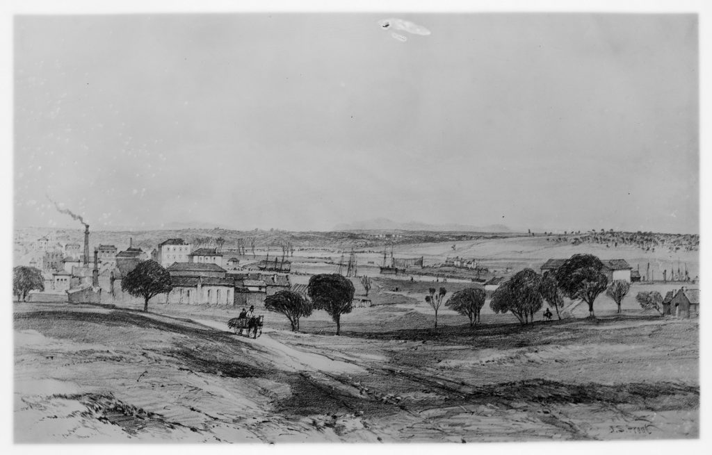 Black and white illustration of the view from Batman's Hill in the 1840s. There are buildings in the background and wide open hilltops in the foreground dotted with a few trees