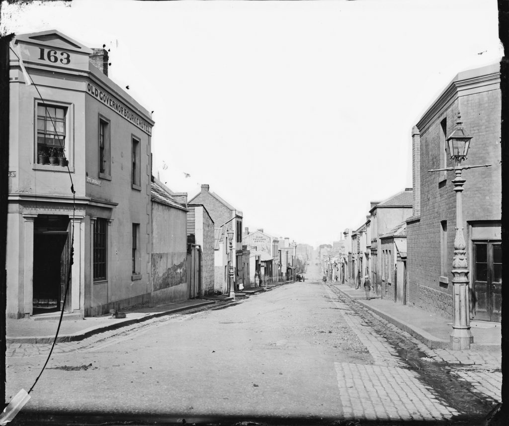 Black and white image of Little Lonsdale Street in 1870