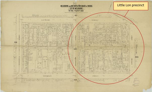 Map of the city block that constituted the Little Lon precinct, bordered by Little Lonsdale, Lonsdale, Exhibition and Spring Streets