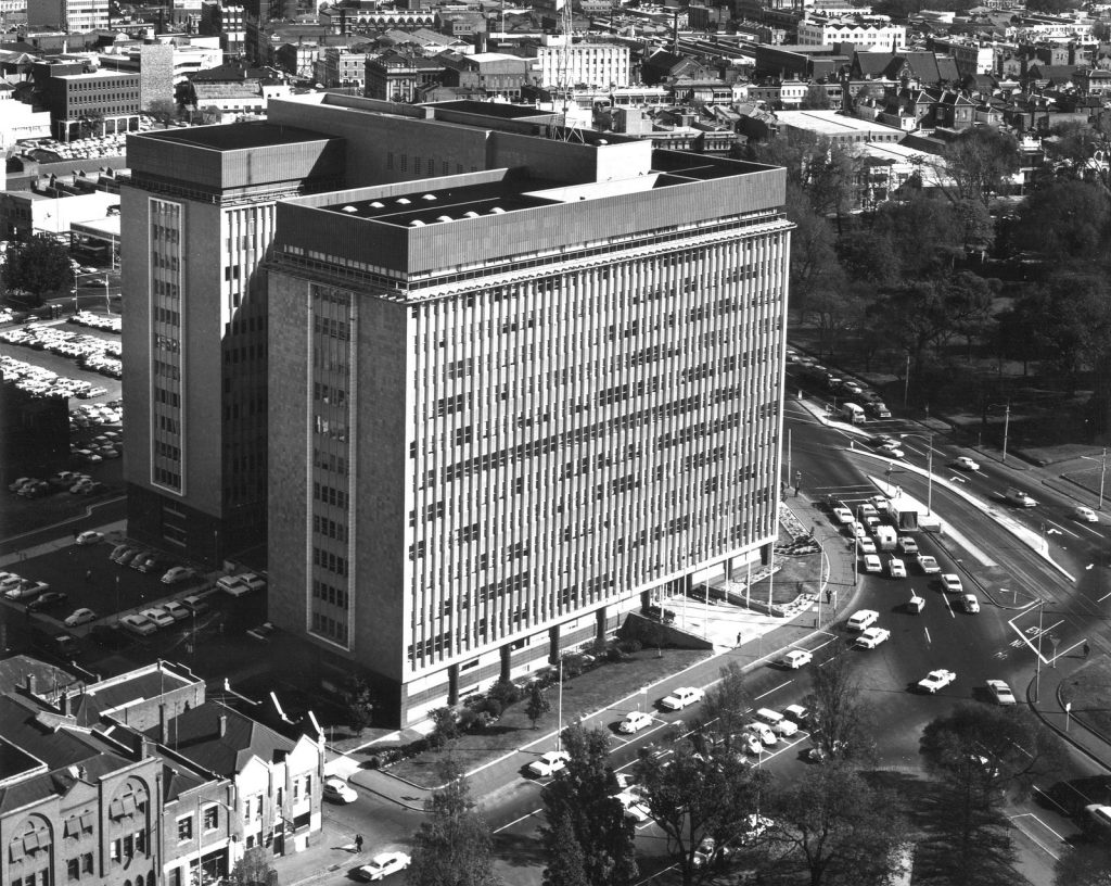Black and white photo of enormous Commonwealth Centre in Spring Street in 1968
